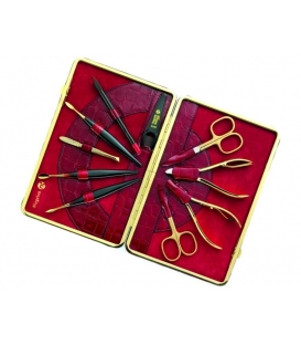 Manicure pedicure set Kroko, red, 10pcs.